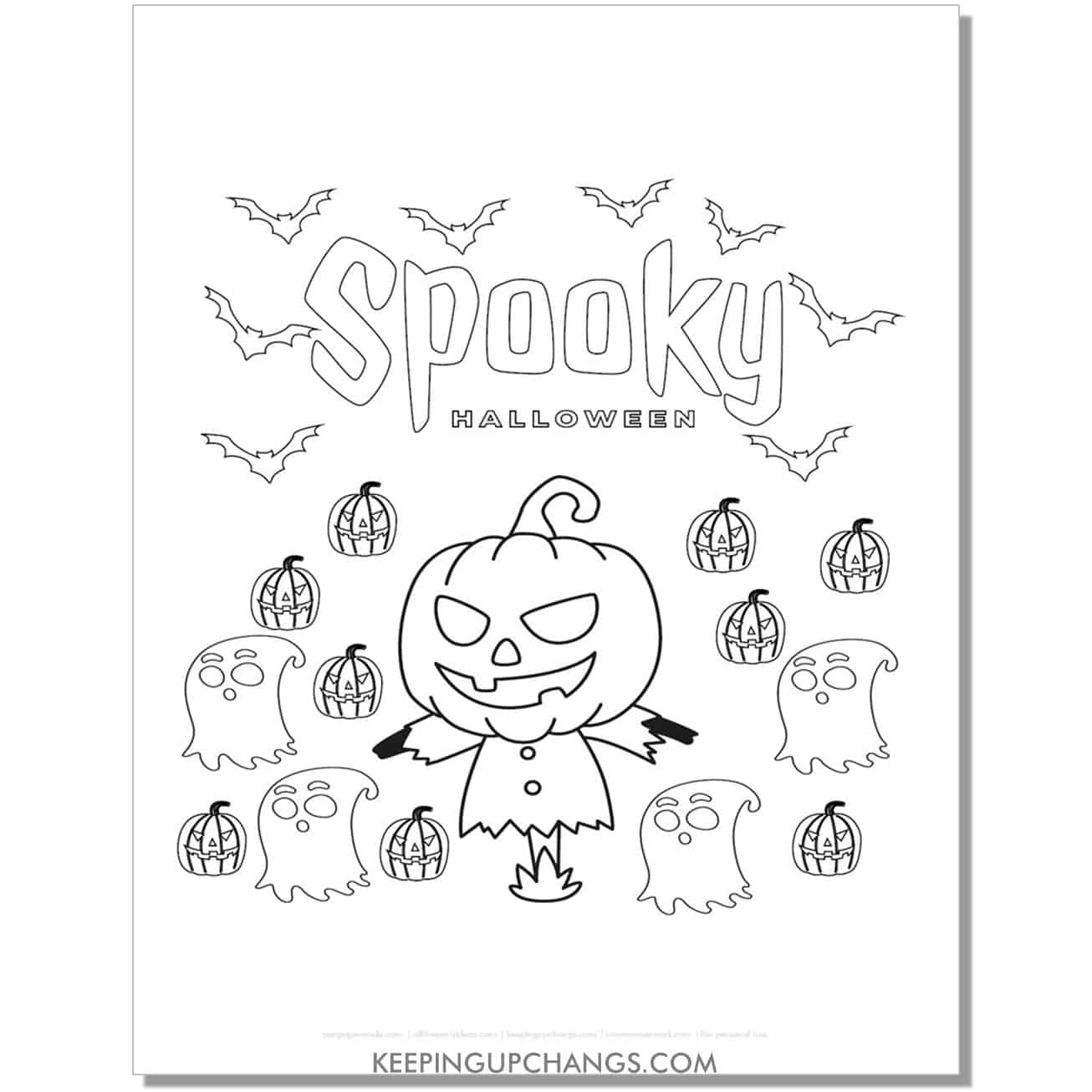 free spooky halloween jack o lantern scarecrow coloring page.