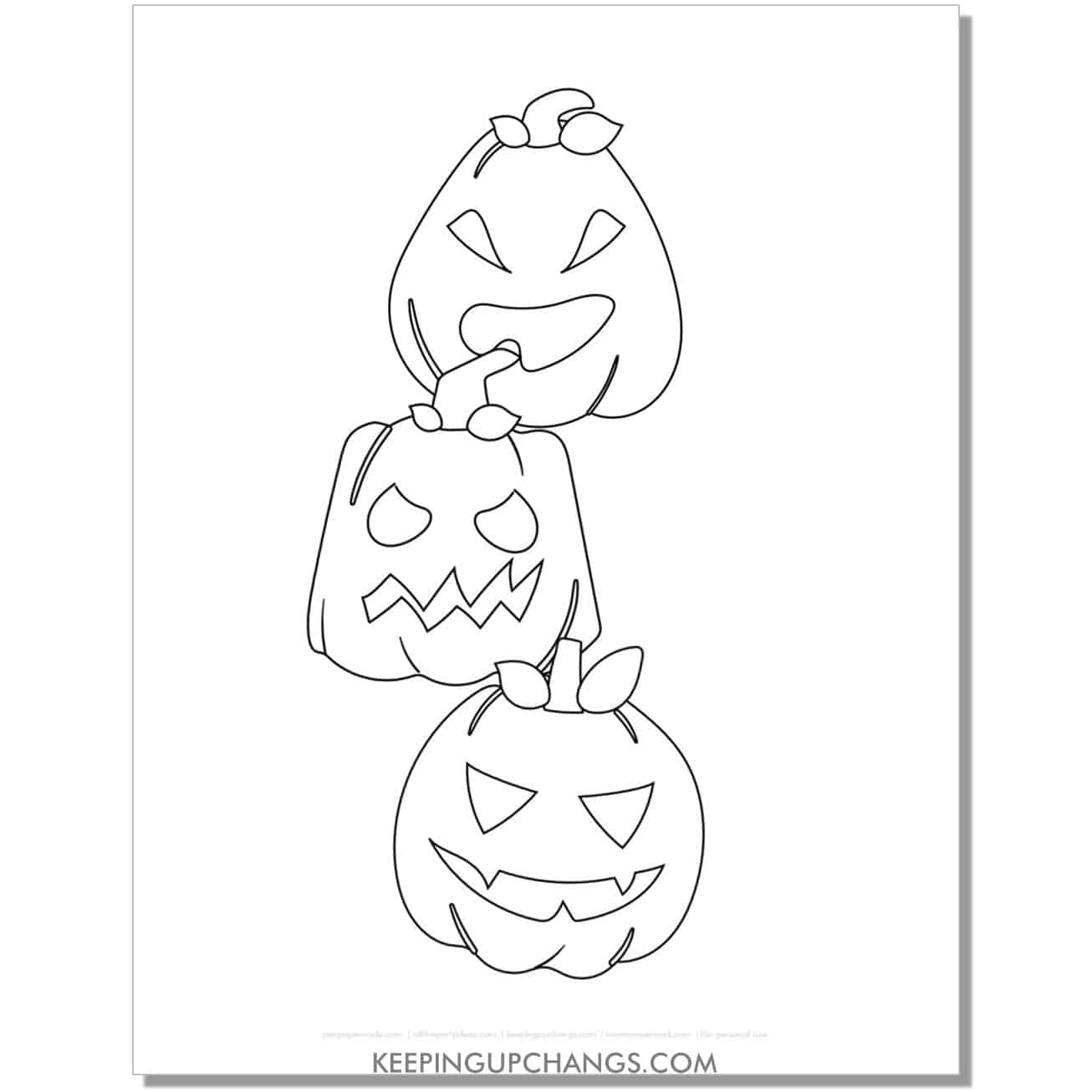 free halloween pumpkin stack coloring page.