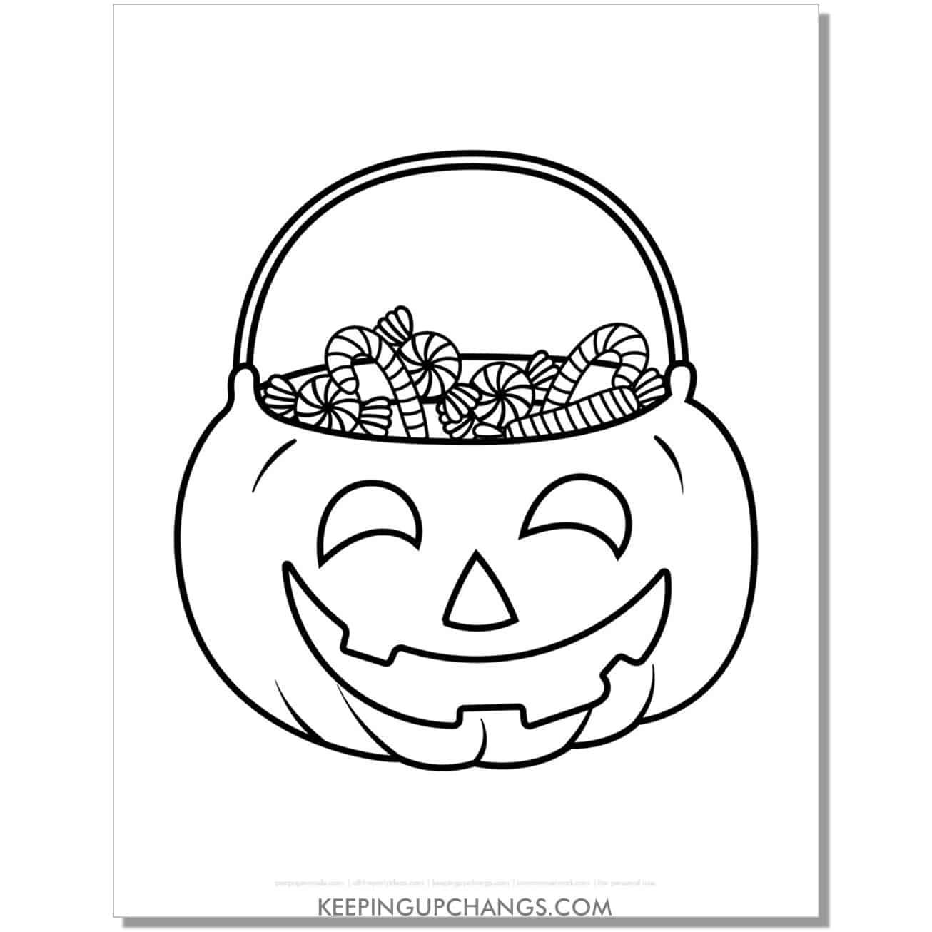 free jack o lantern trick or treat bucket halloween coloring page.
