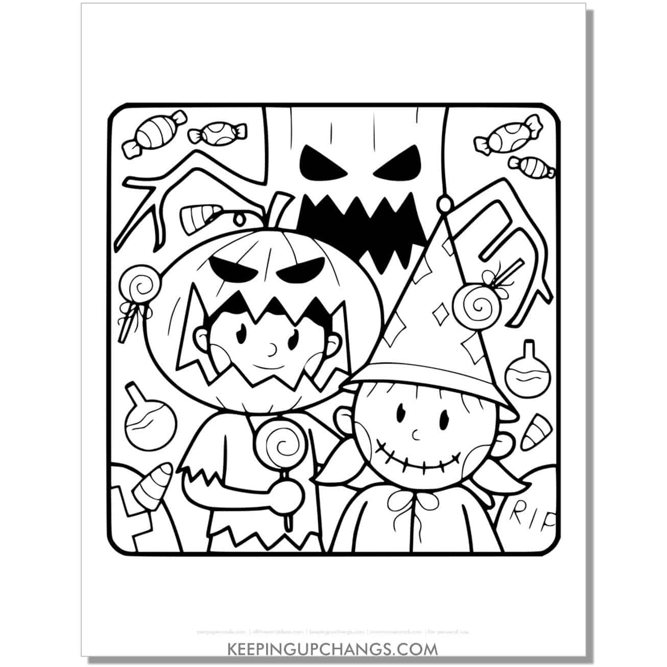 free halloween jack o lantern and wizard costume coloring page.