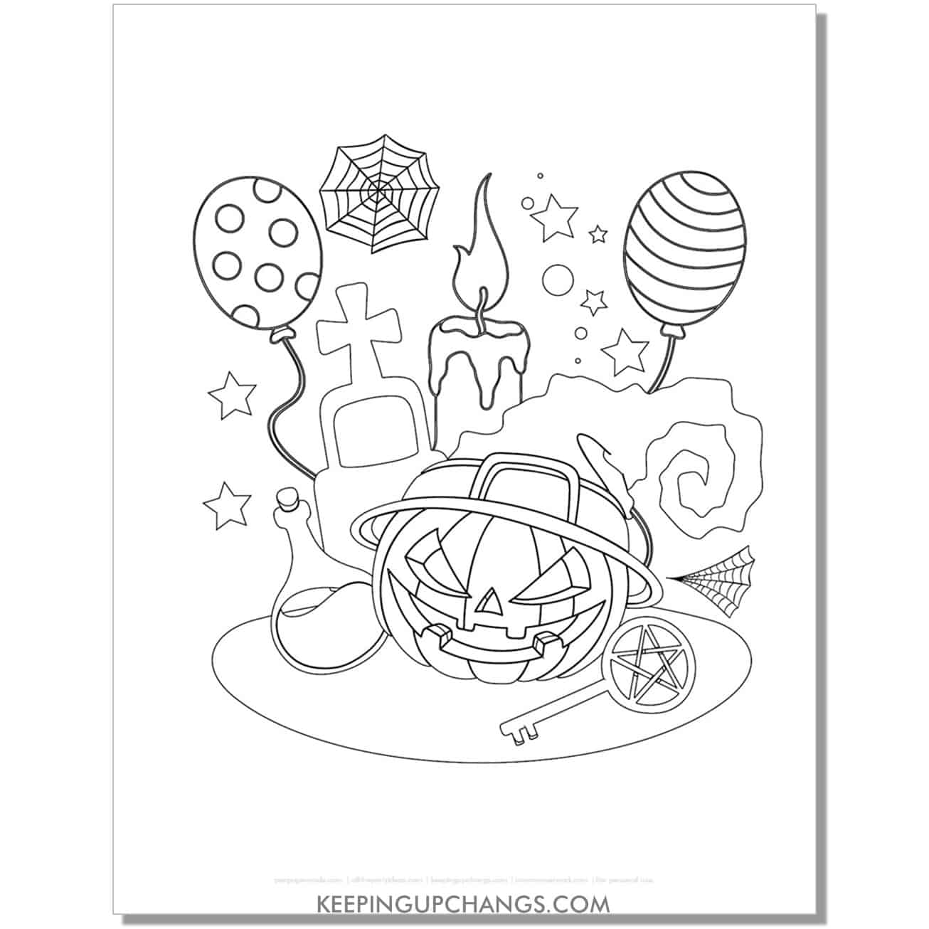 free halloween pumpkin party coloring page.