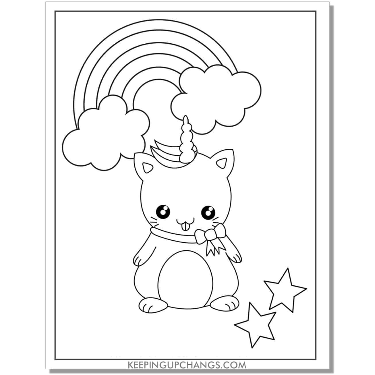 kawaii cat unicorn with stars and rainbow coloring page.