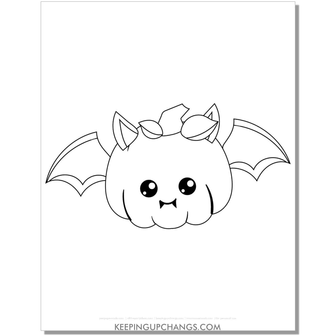 free halloween pumpkin with bat wings coloring page.