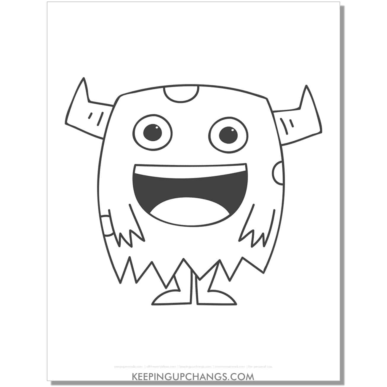 free happy monster with horns coloring page.