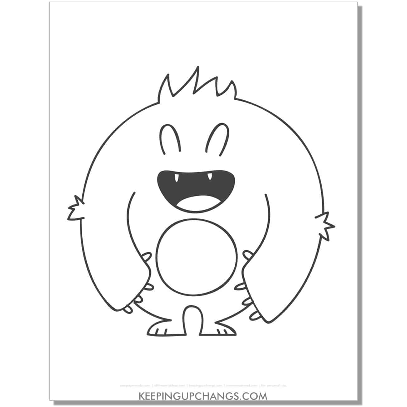 free large round monster coloring page.