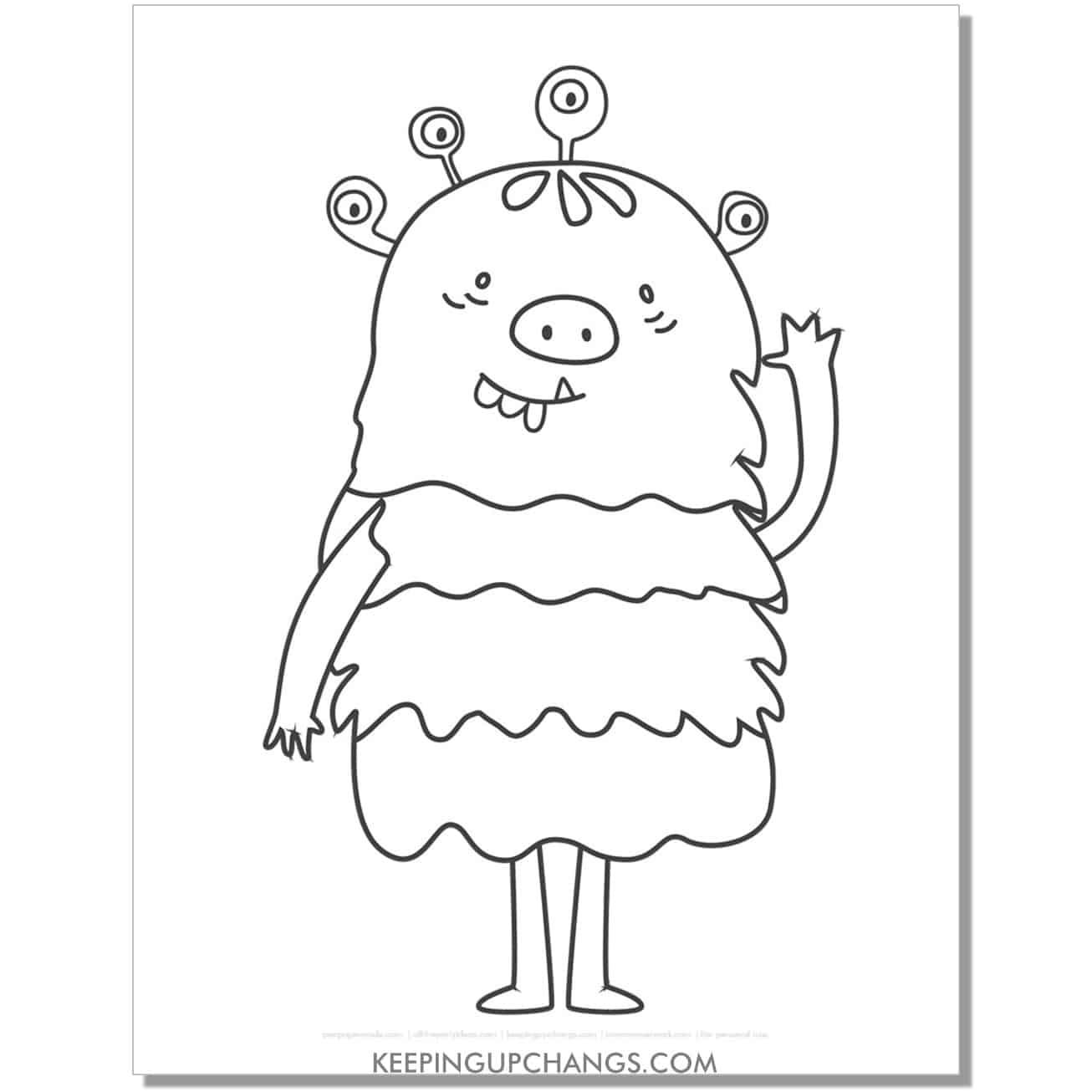 free friendly girl monster coloring page.