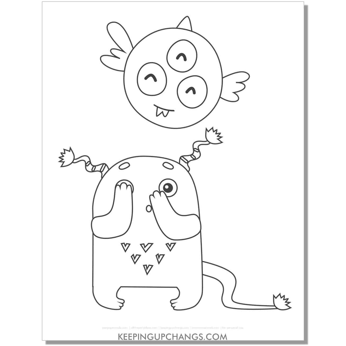 free peeking monster coloring page.