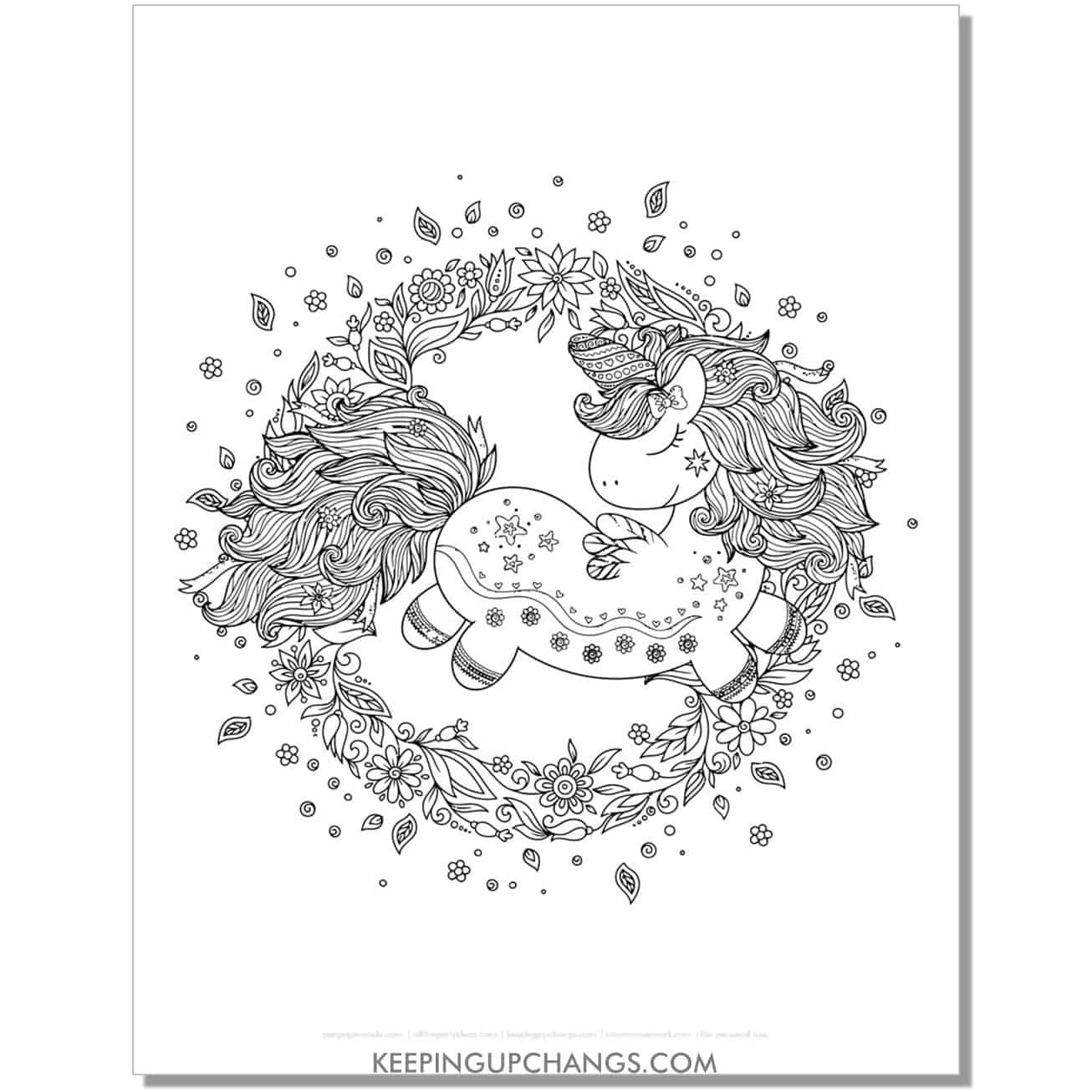 cute unicorn zentangle in full botanical frame coloring page.