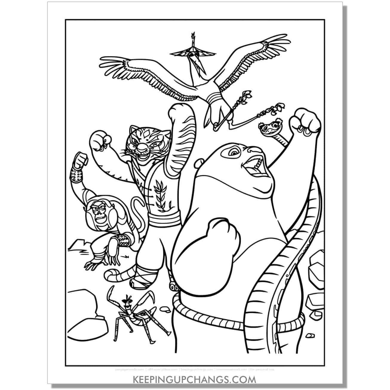 free monkey, praying mantis, snake, tiger, crane kung fu panda coloring page.