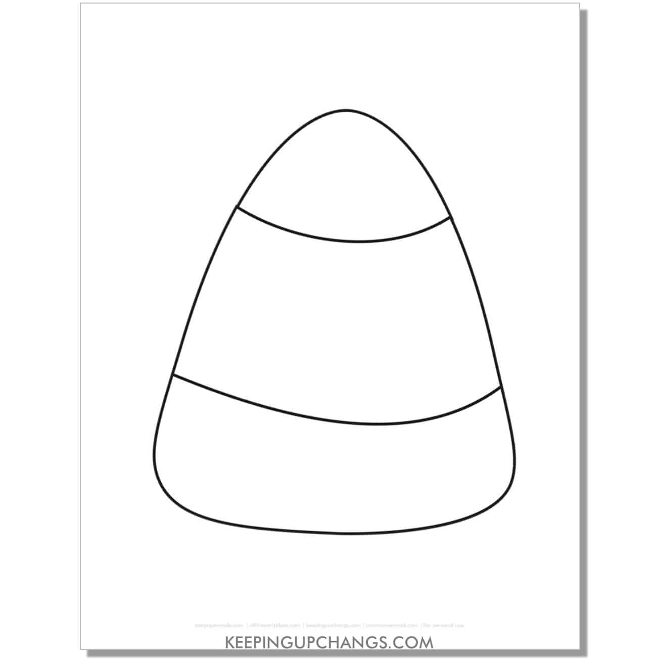 free large candy corn template halloween coloring page.