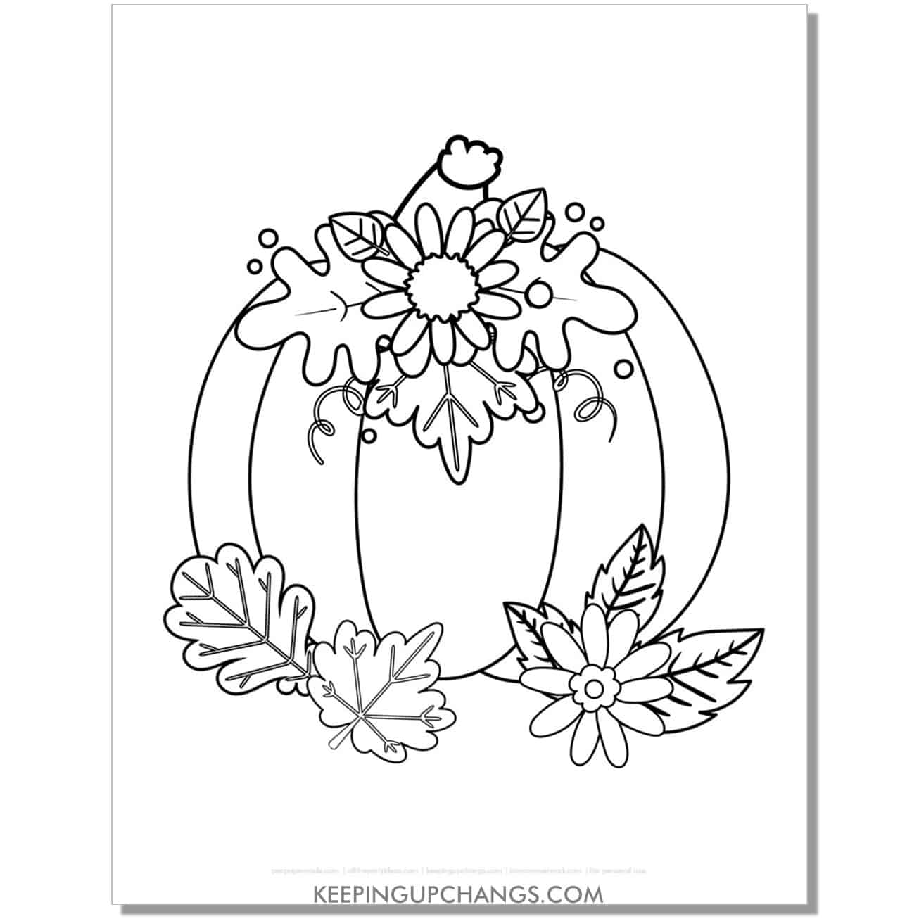 free large pumpkin with leaves coloring page for fall, thanksgiving.