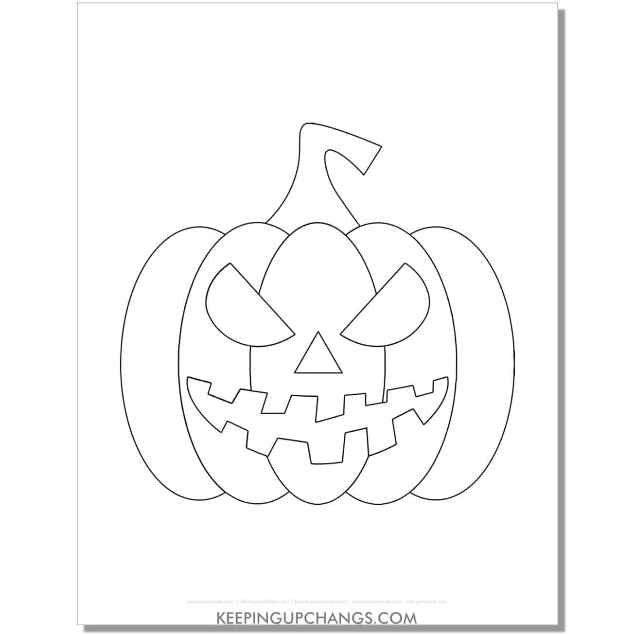 free large simple jack o lantern template coloring page.