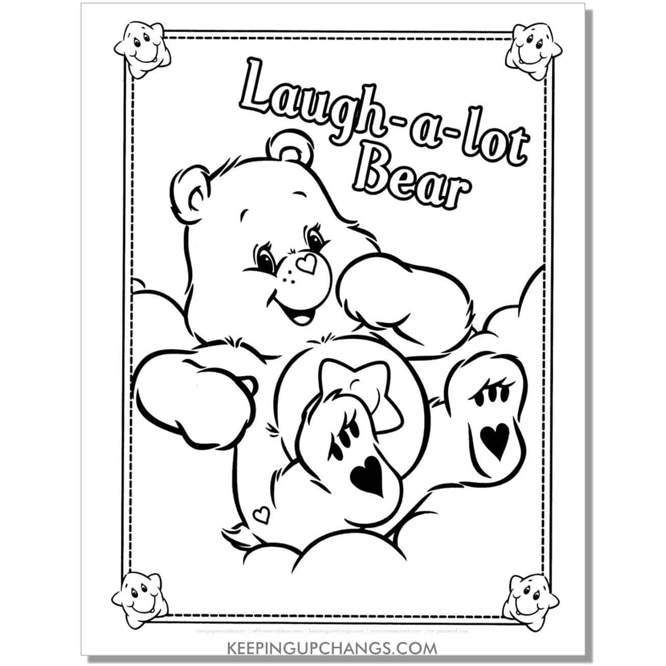 laugh a lot care bear sitting on cloud coloring page.