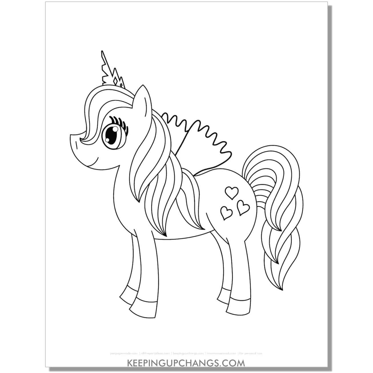 free heart cutie mark my little pony coloring page.