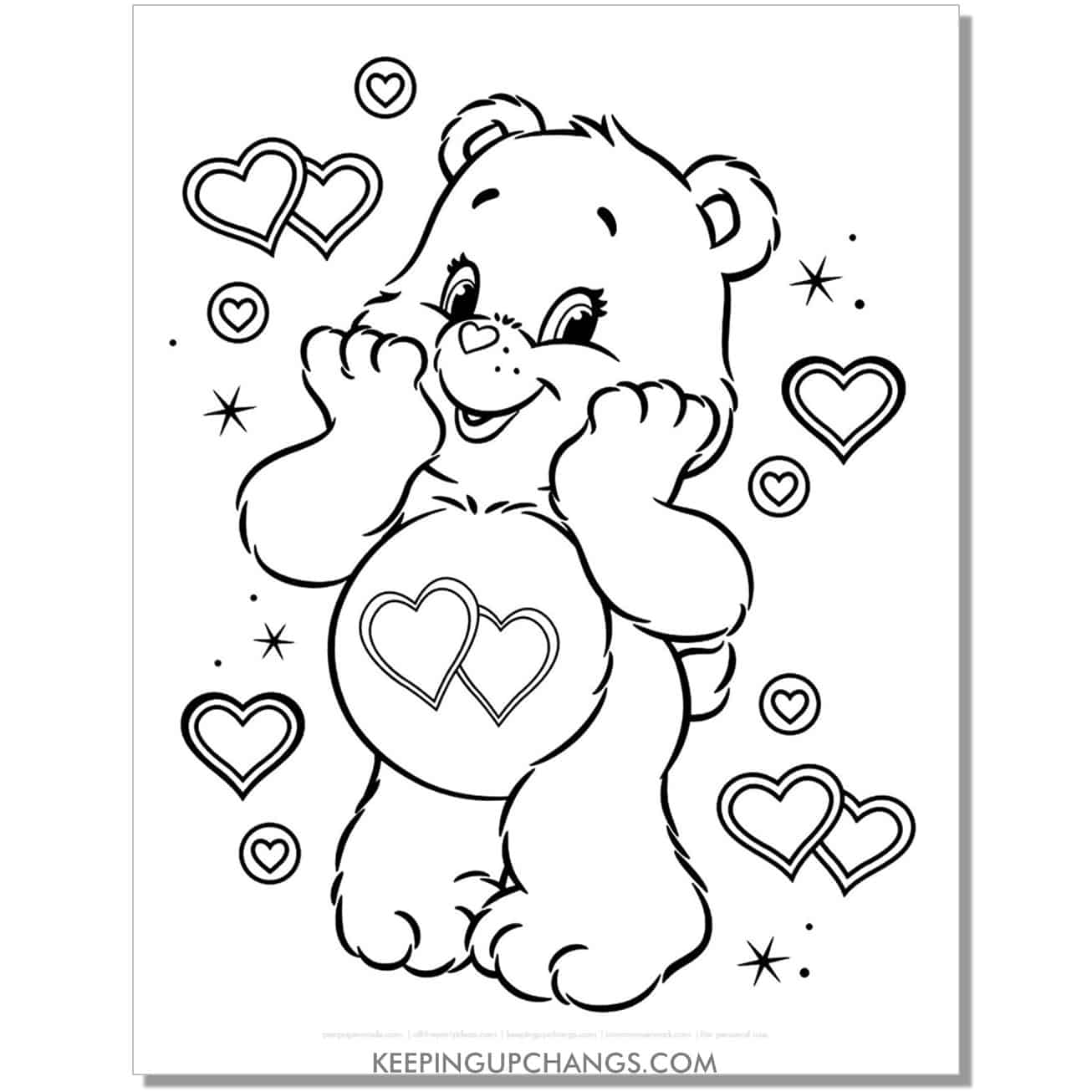 love a lot care bear with lots of hearts coloring page.