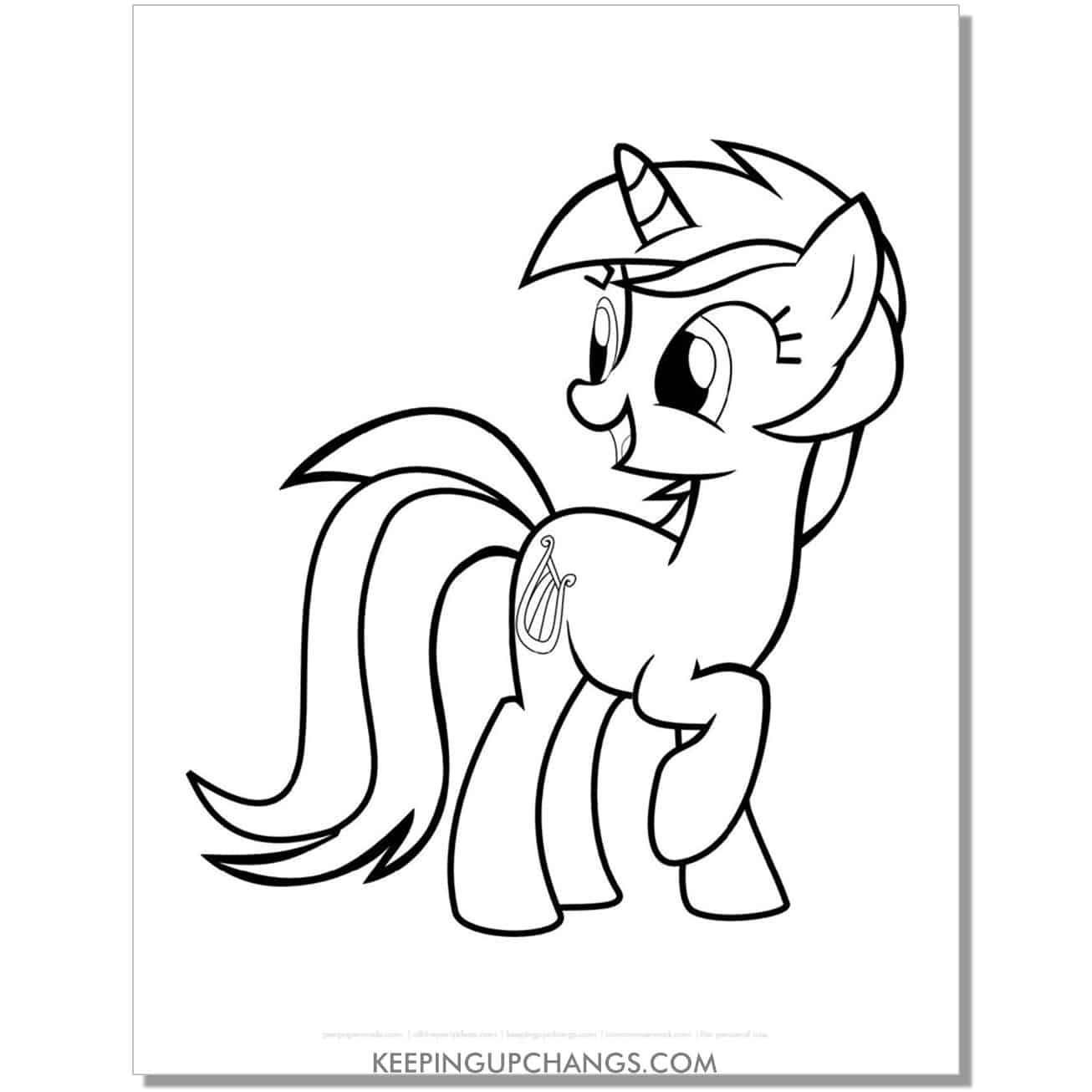 free harp cutie mark my little pony coloring page.