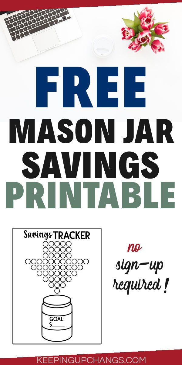 free mason jar savings printable