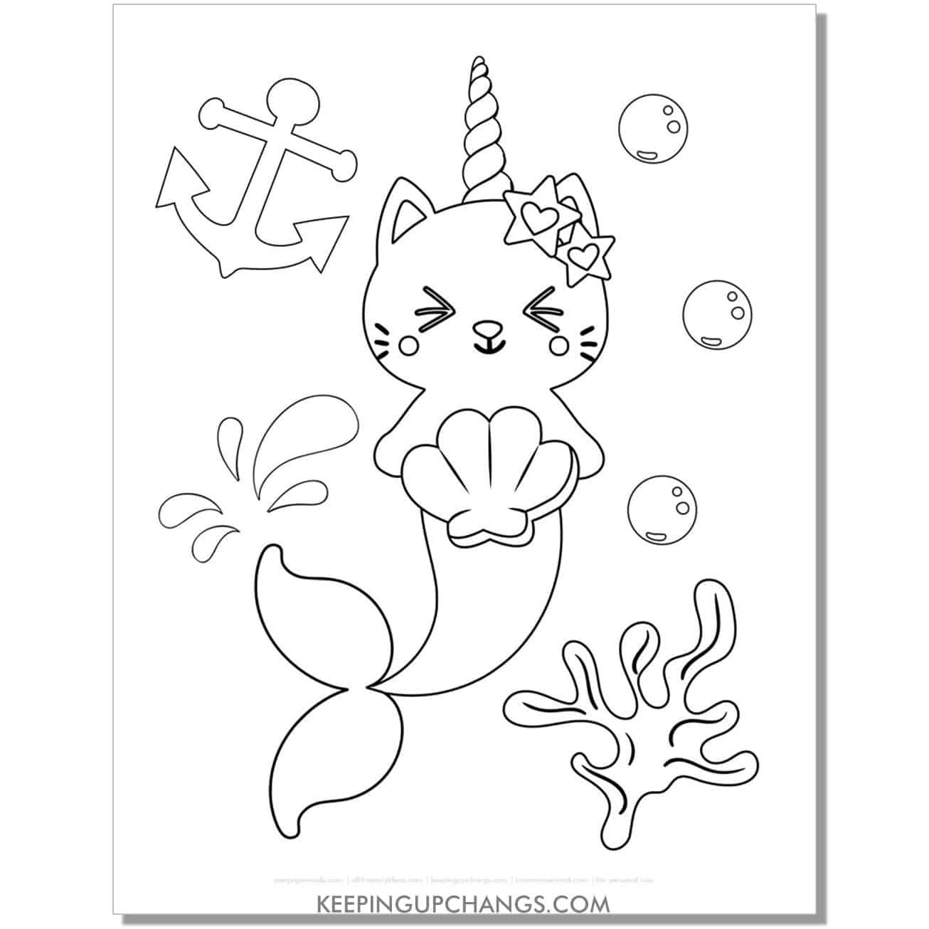 cat unicorn mermaid coloring page.