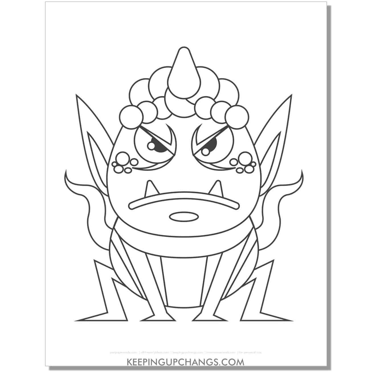 free angry frog female monster coloring page.