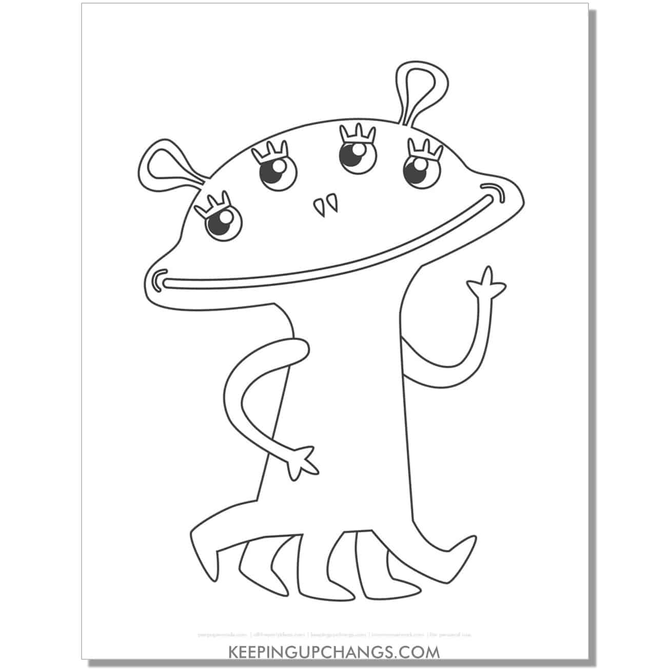 free female alien monster coloring page.