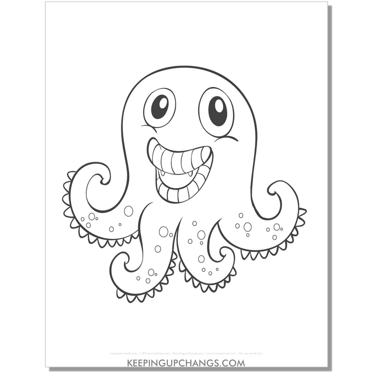 free octopus monster coloring page.
