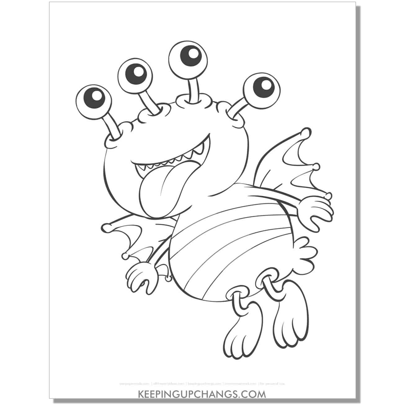 free four eyed flying monster coloring page.