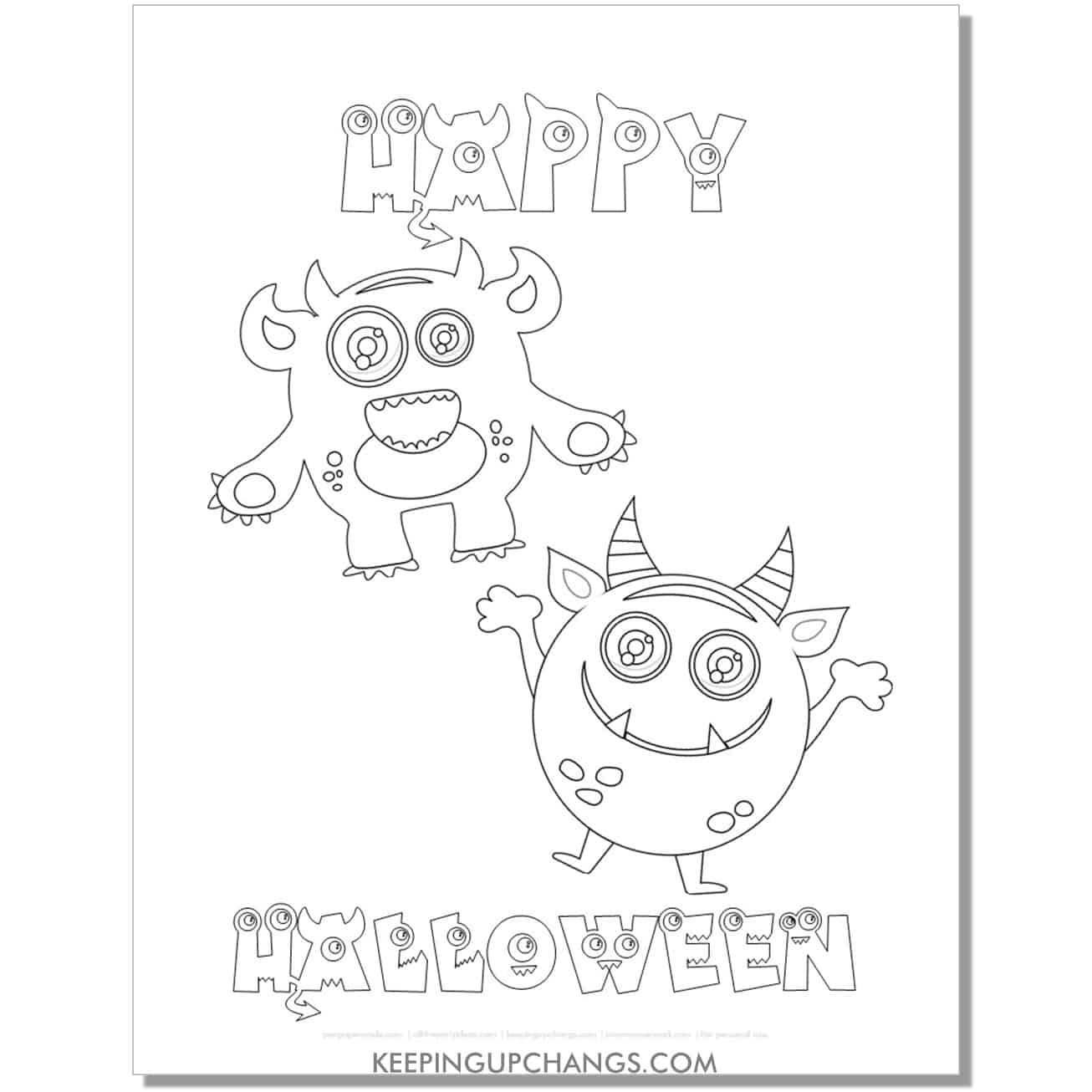 free cute monster happy halloween coloring page.