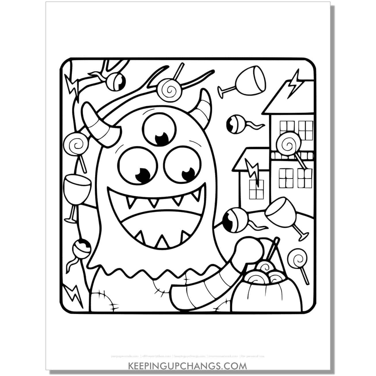 free monster trick or treat halloween coloring page.