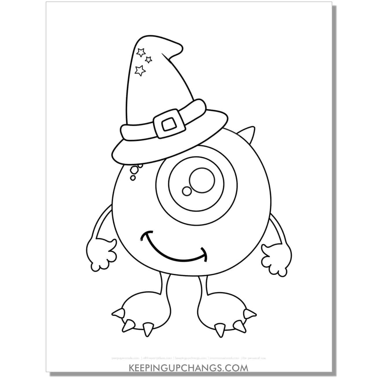 free mike monsters inc witch hat halloween coloring page.