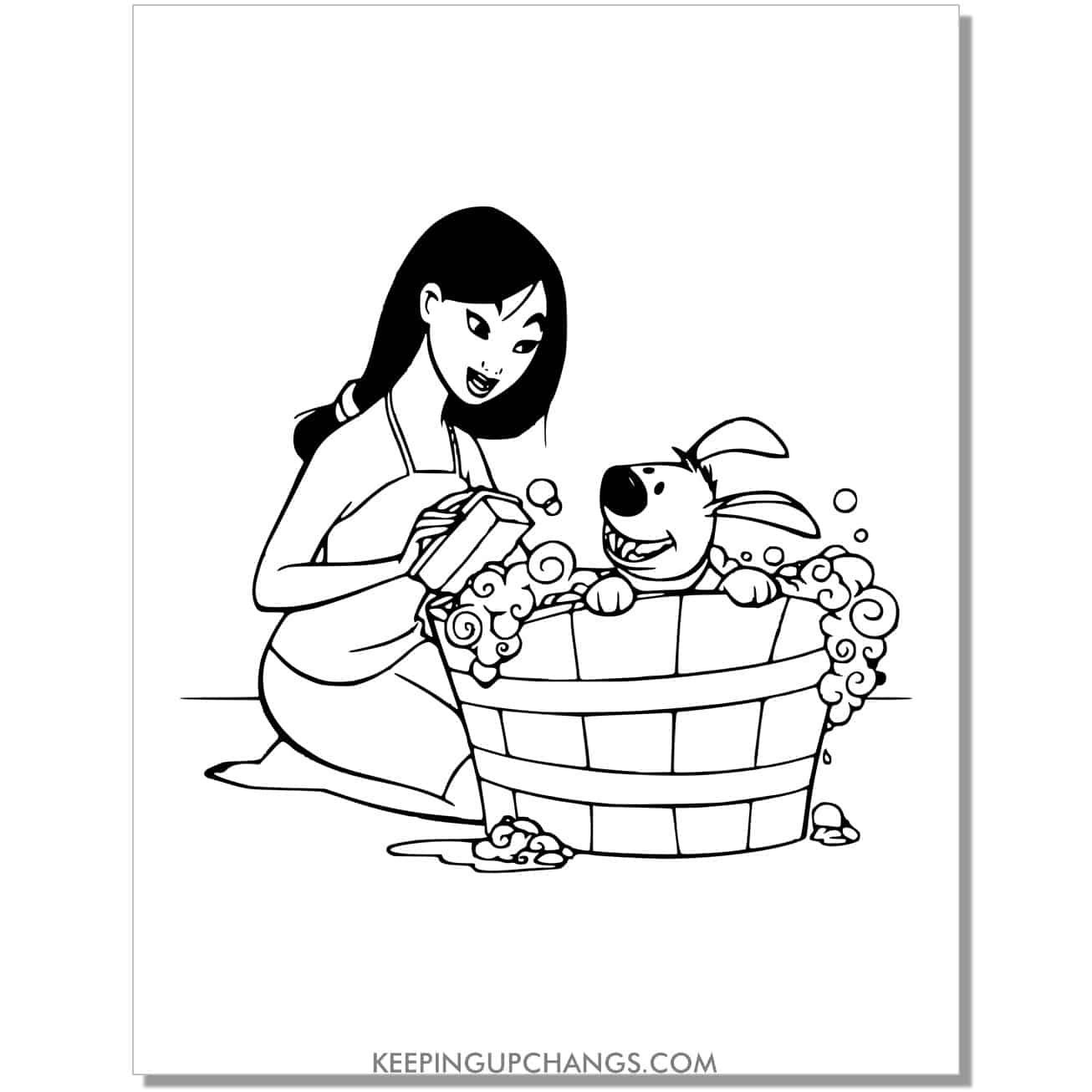 mulan bathing cute dog little brother coloring page.