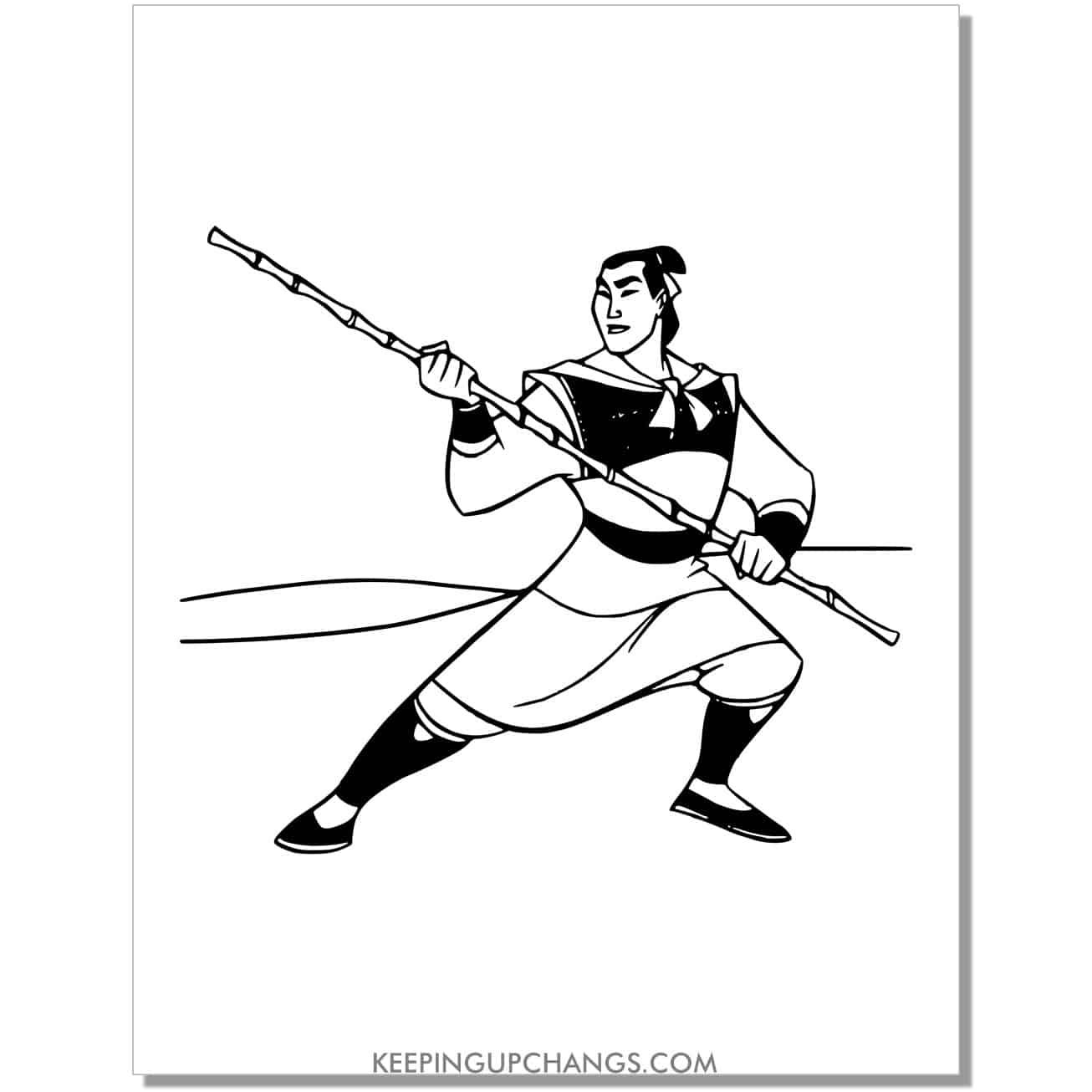 mulan husband captain li shang coloring page.