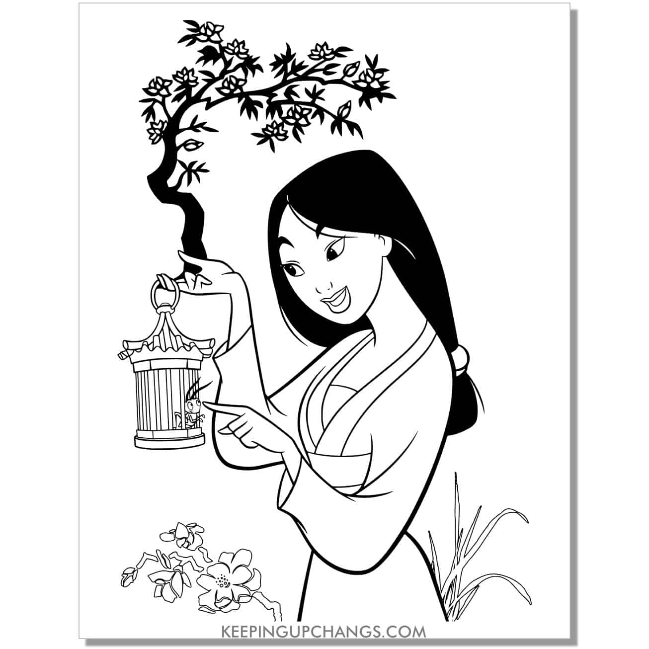mulan playing with good luck cricket in cage and flowerscoloring page.