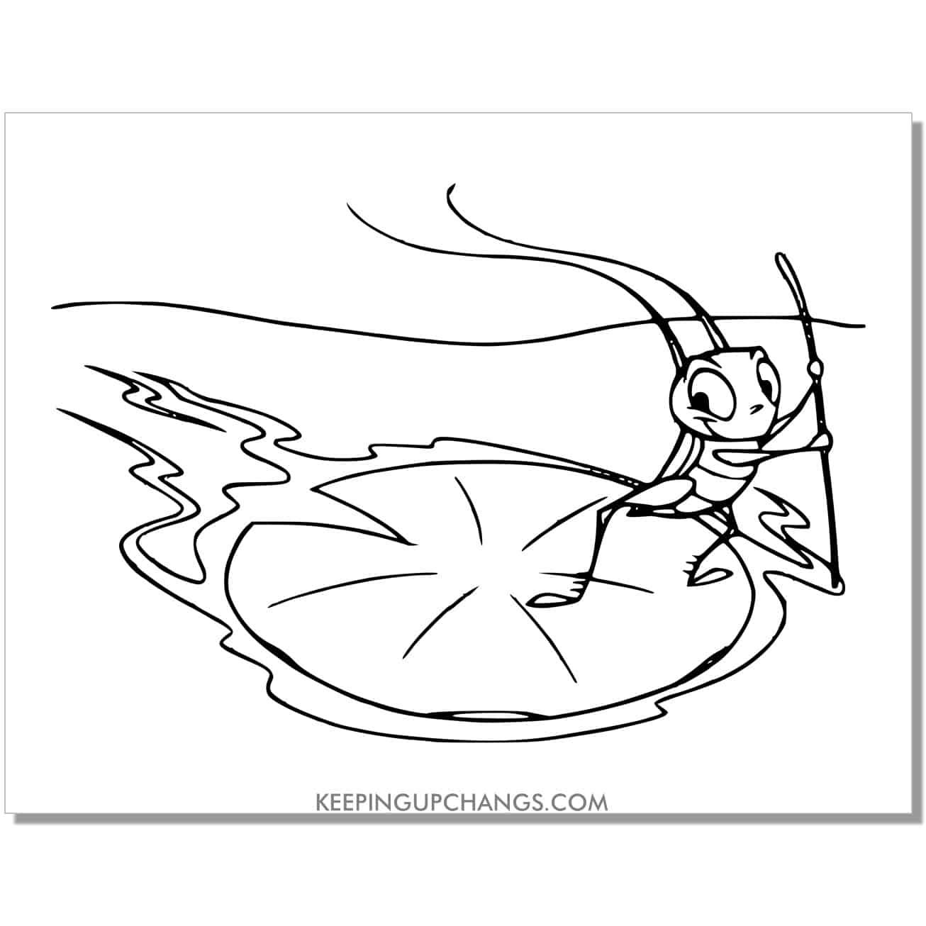 mulan cricket cri kee floating on lilypad coloring page.