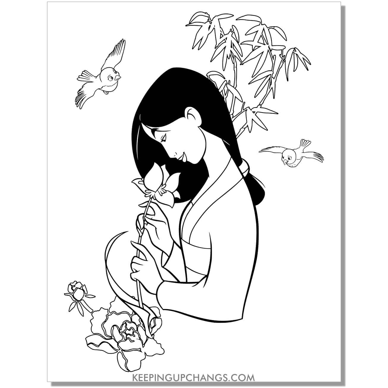 disney princess holding flower waiting to bloom coloring page.