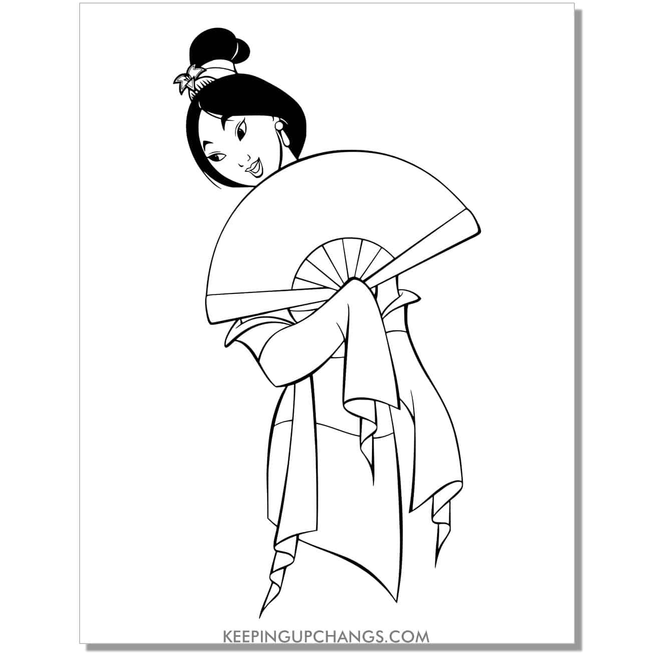 mulan practicing for match maker hair in a bun holding fan coloring page.