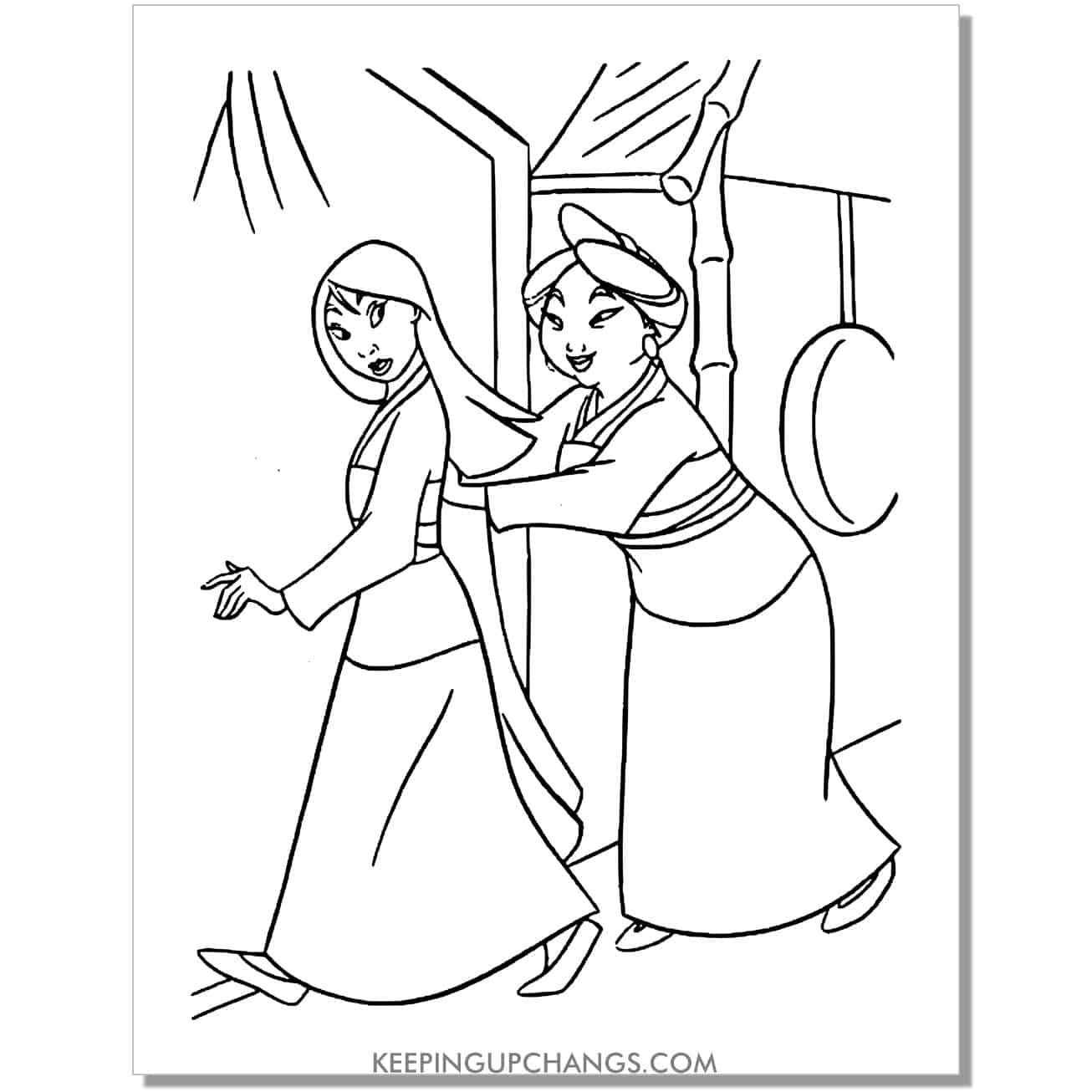 mulan and mother hua li coloring page.