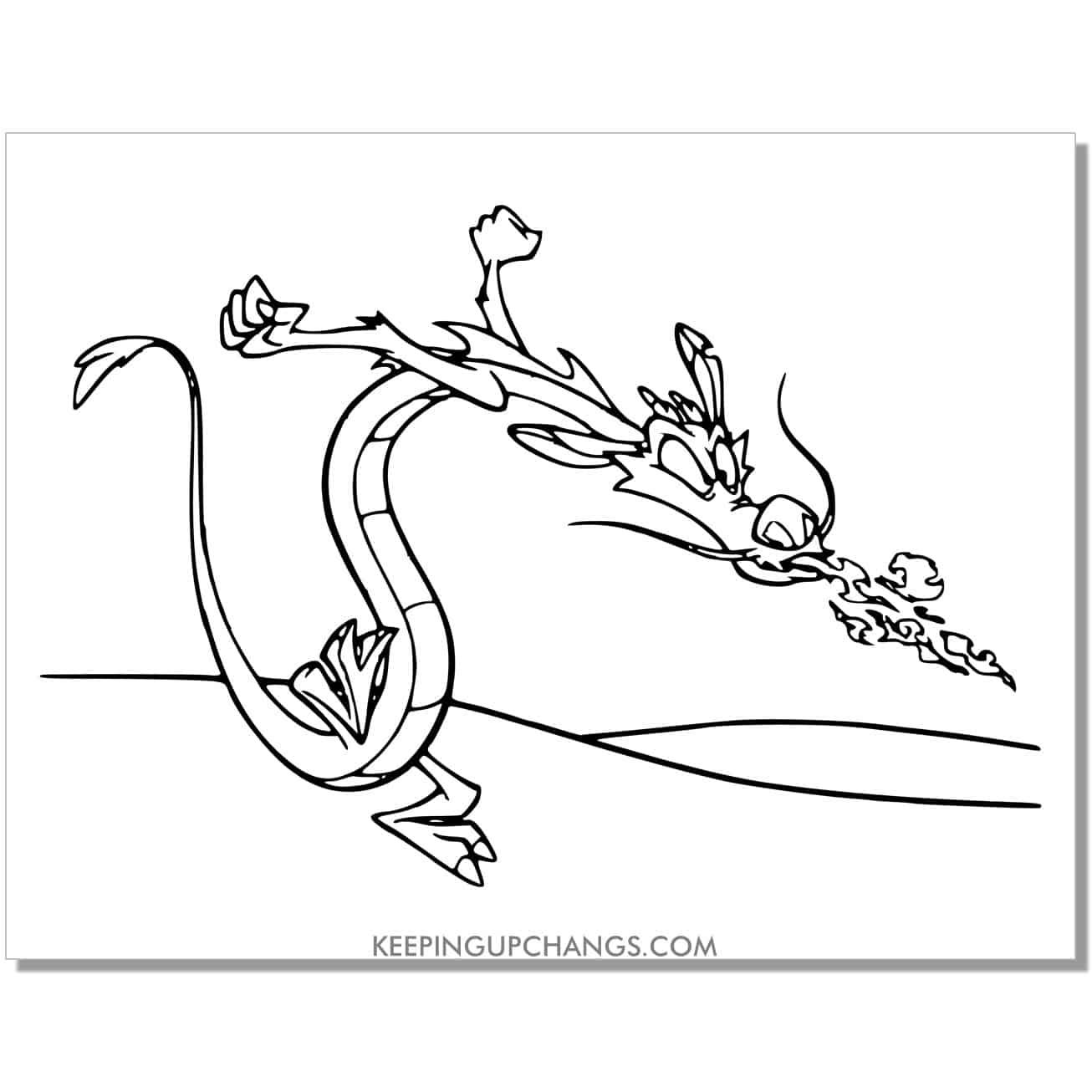 mulan mushu dragon breathing fire coloring page.