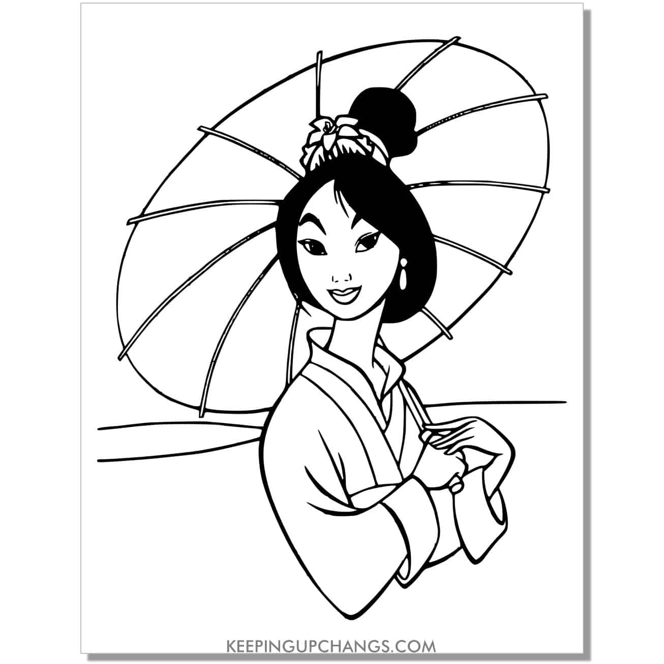 beautiful disney princess mulan coloring page.