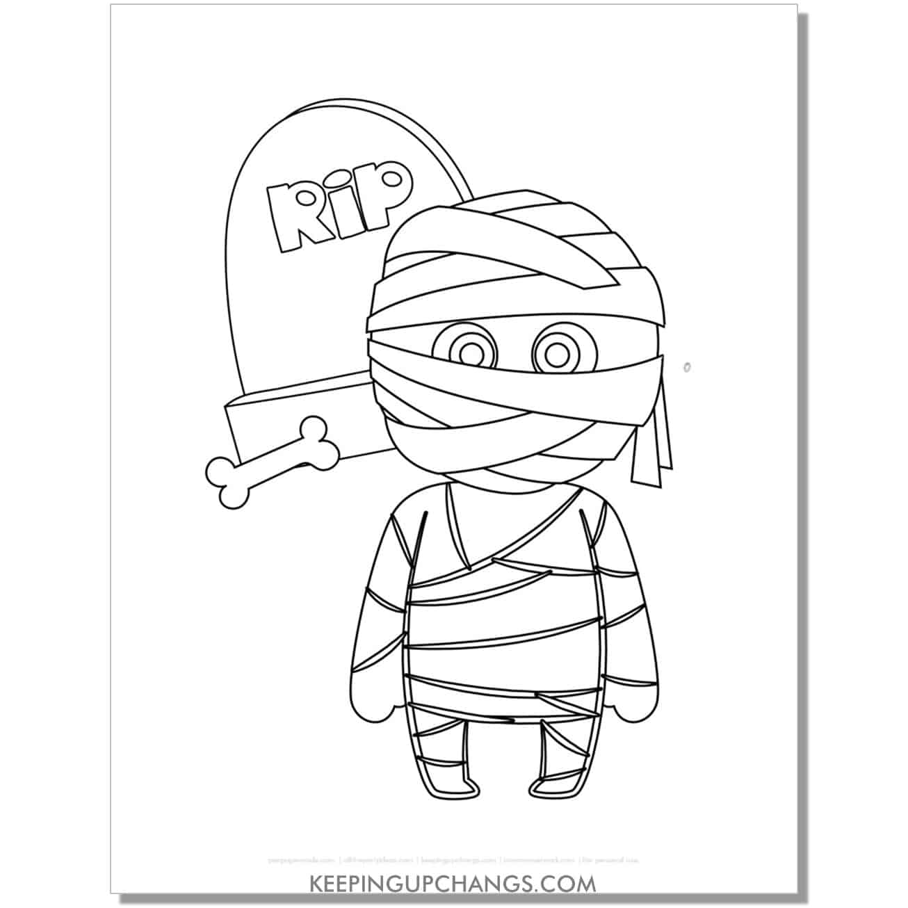 free boy mummy kid with gravestone halloween coloring page.