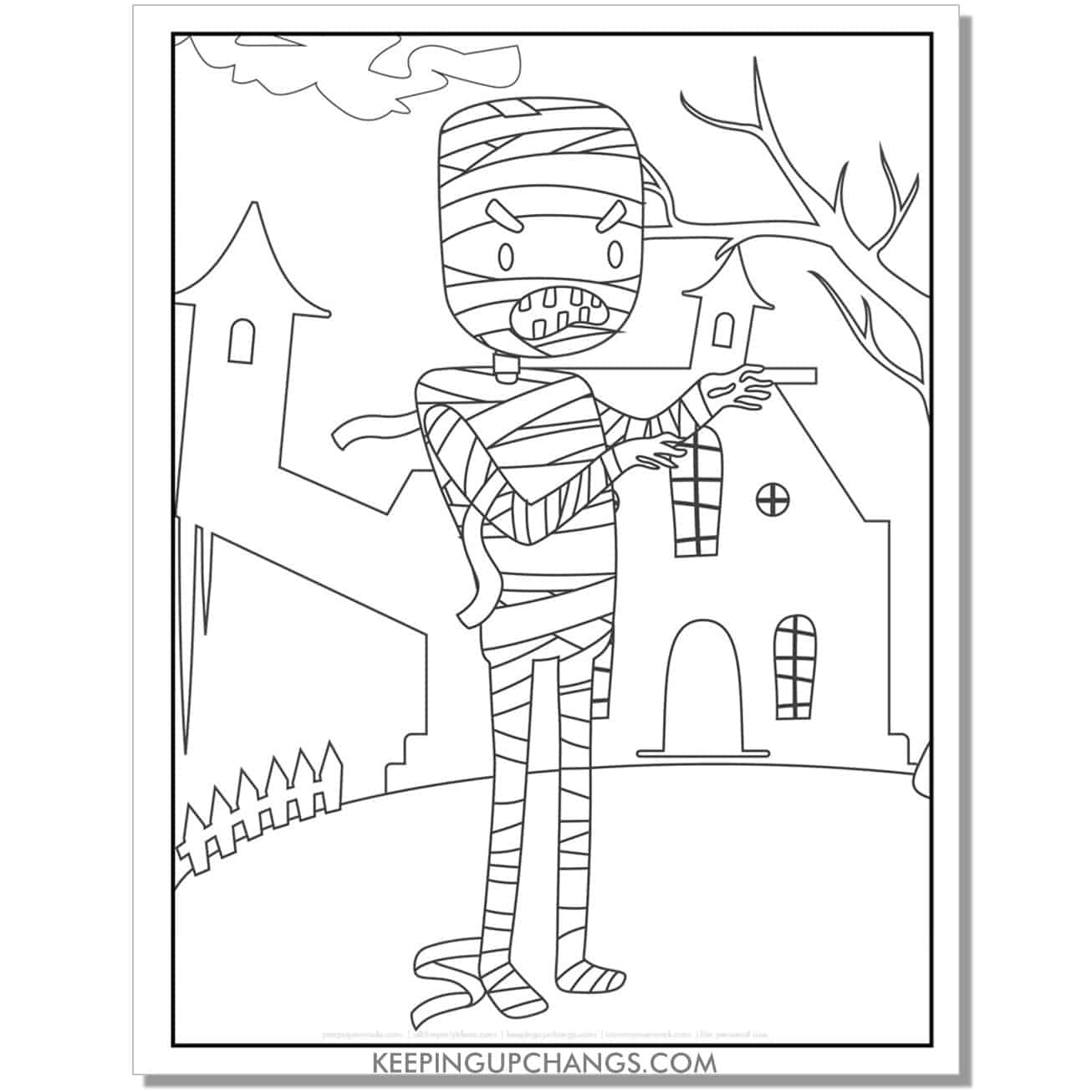 free mummy and haunted house coloring page.