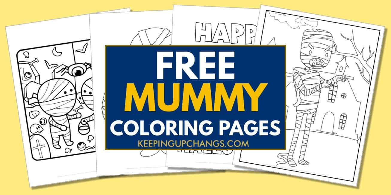 spread of free mummy coloring pages.