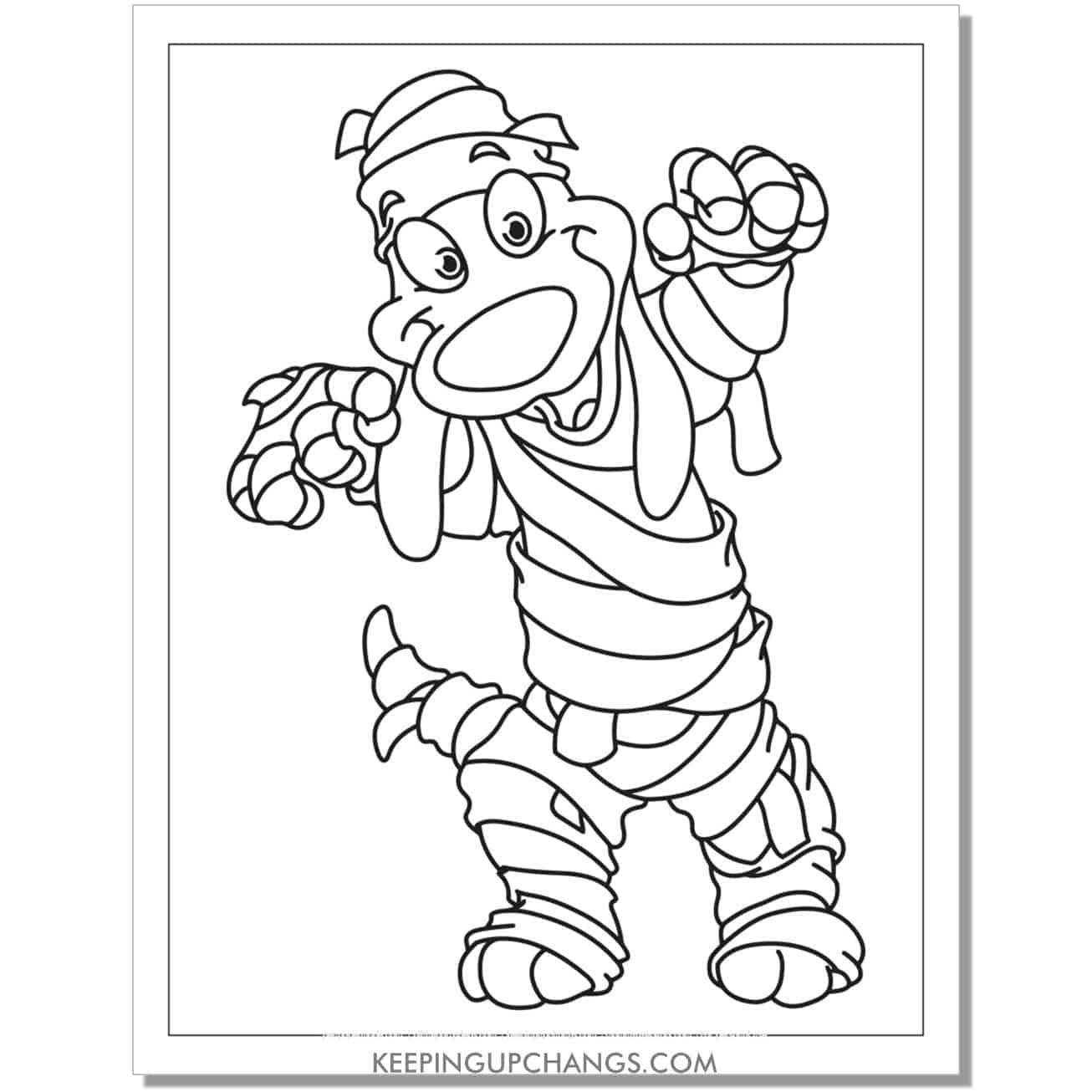 free mummy dog cartoon coloring page.