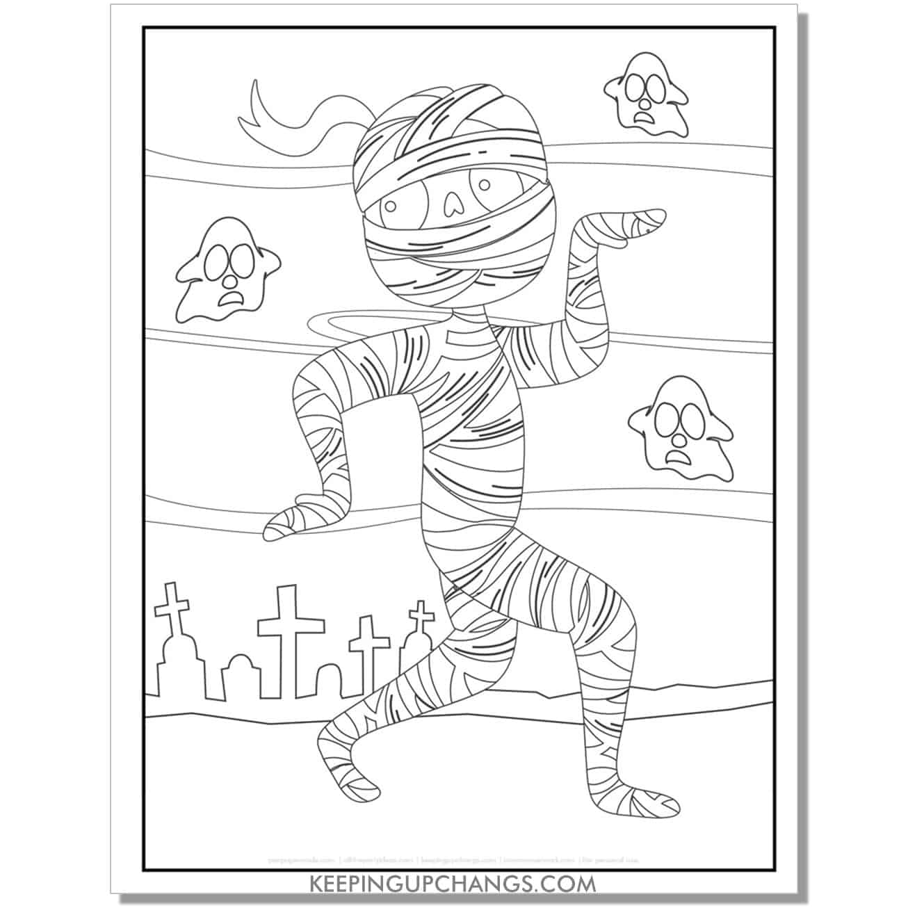 free mummy in Egyptian pose coloring page.
