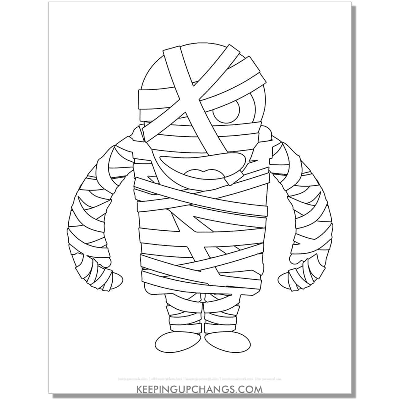 free mummy angry coloring page.