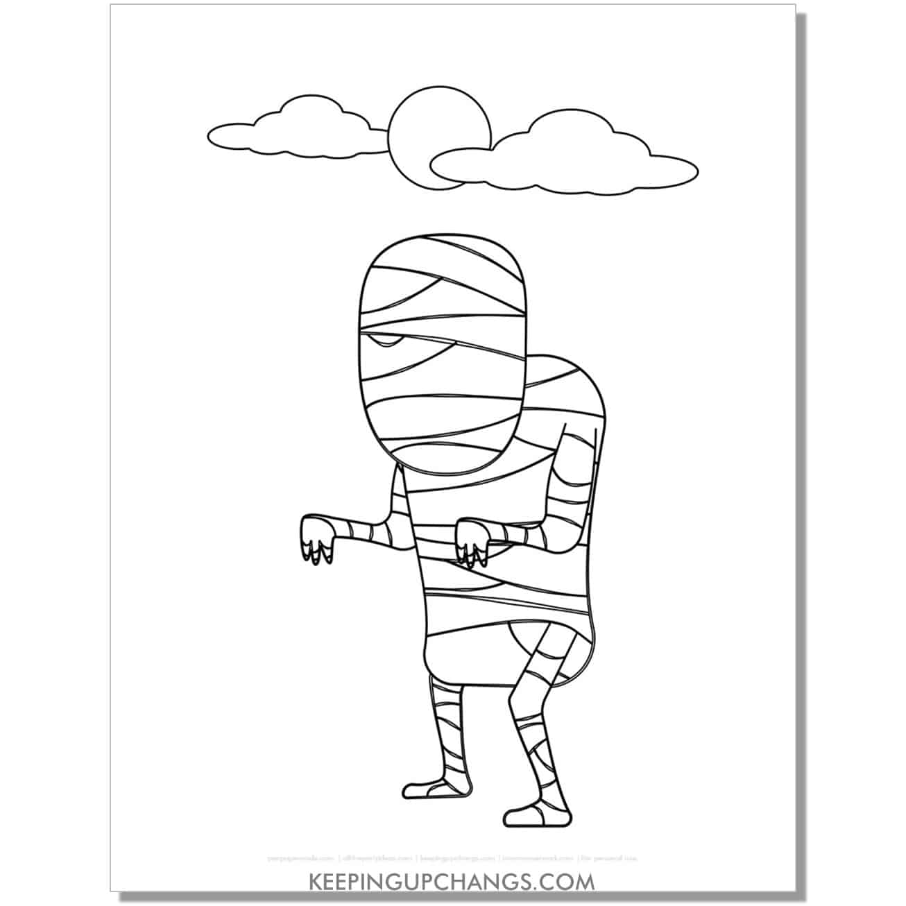free not so scary goosebumps mummy man coloring page.
