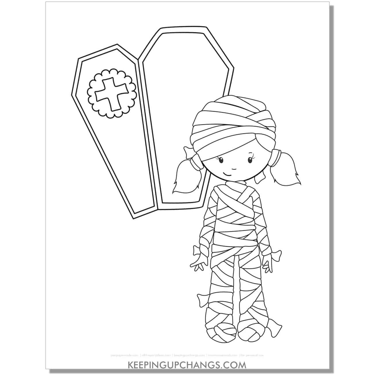 free mummy girl coloring page.