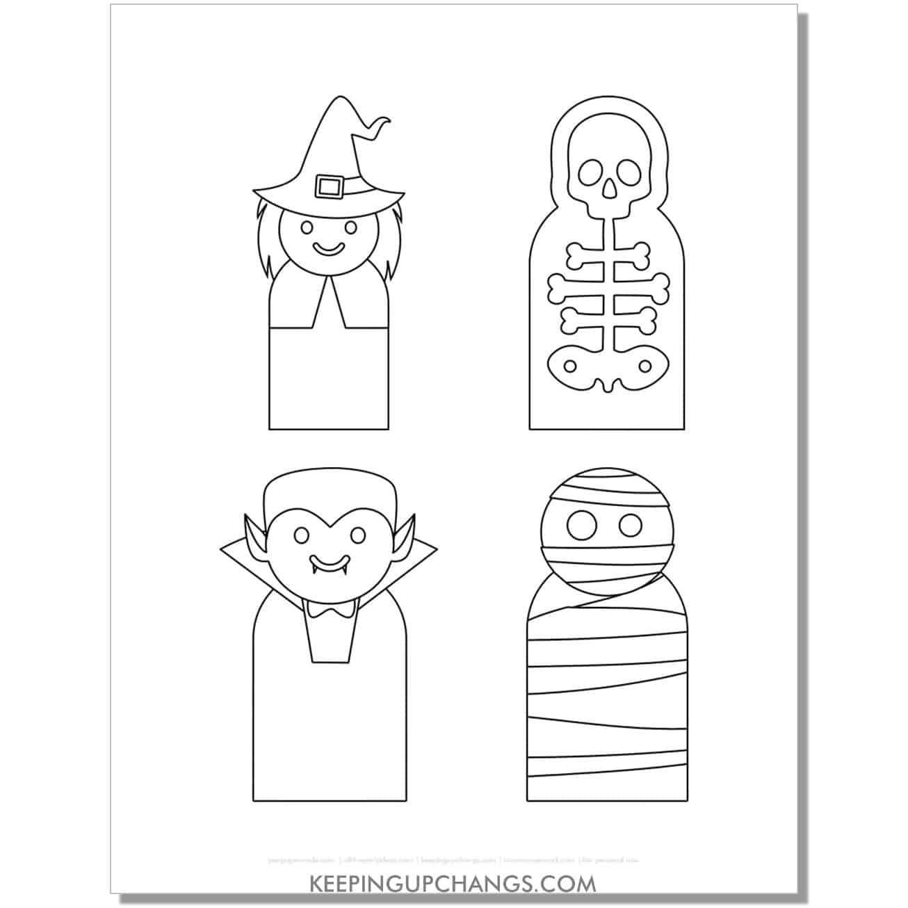 free witch, dracula, skeleton mummy finger puppet coloring page.