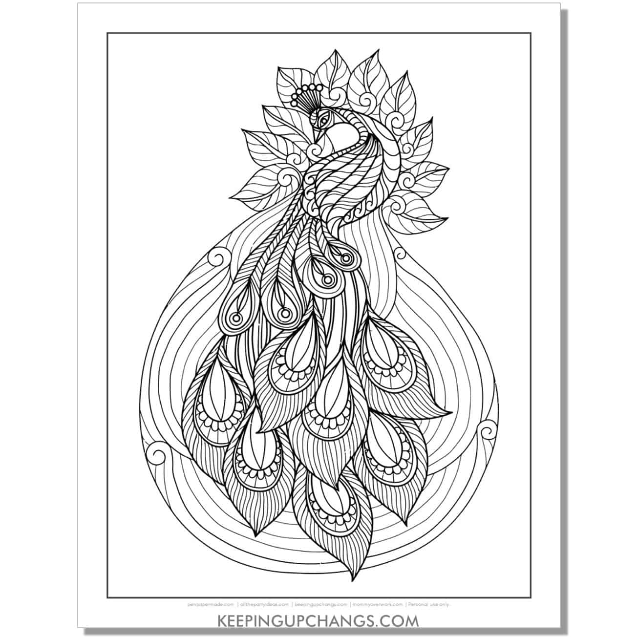 beautiful peacock coloring page.