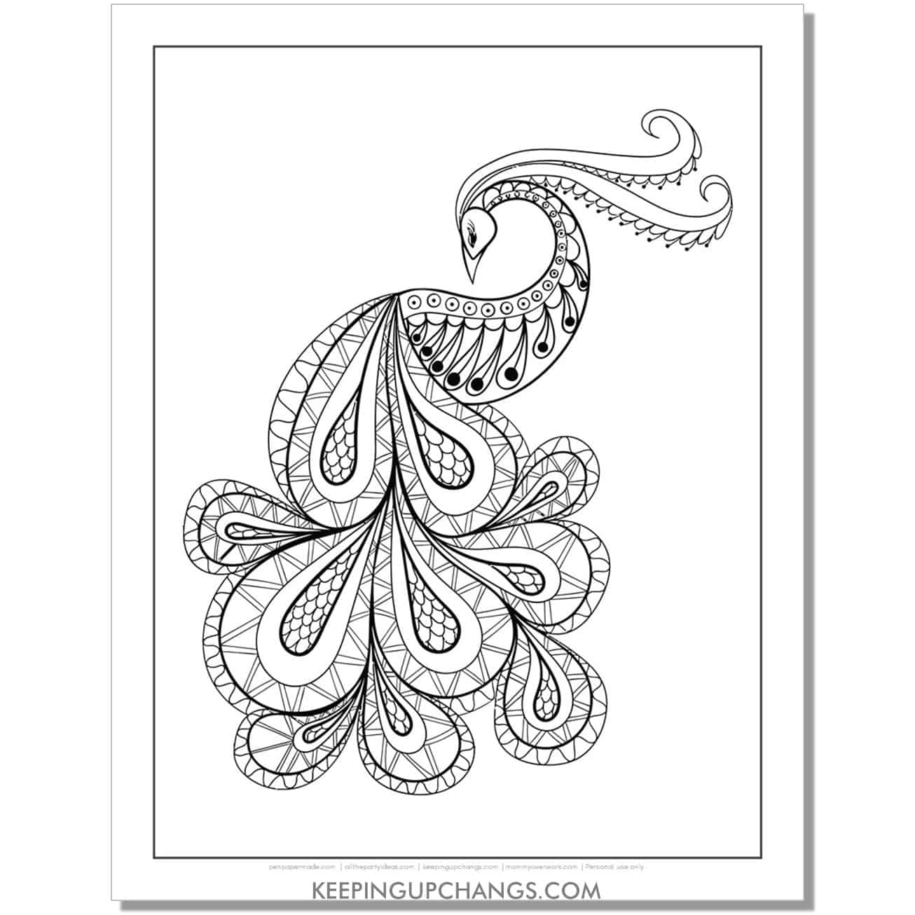 cool peacock animal coloring page.
