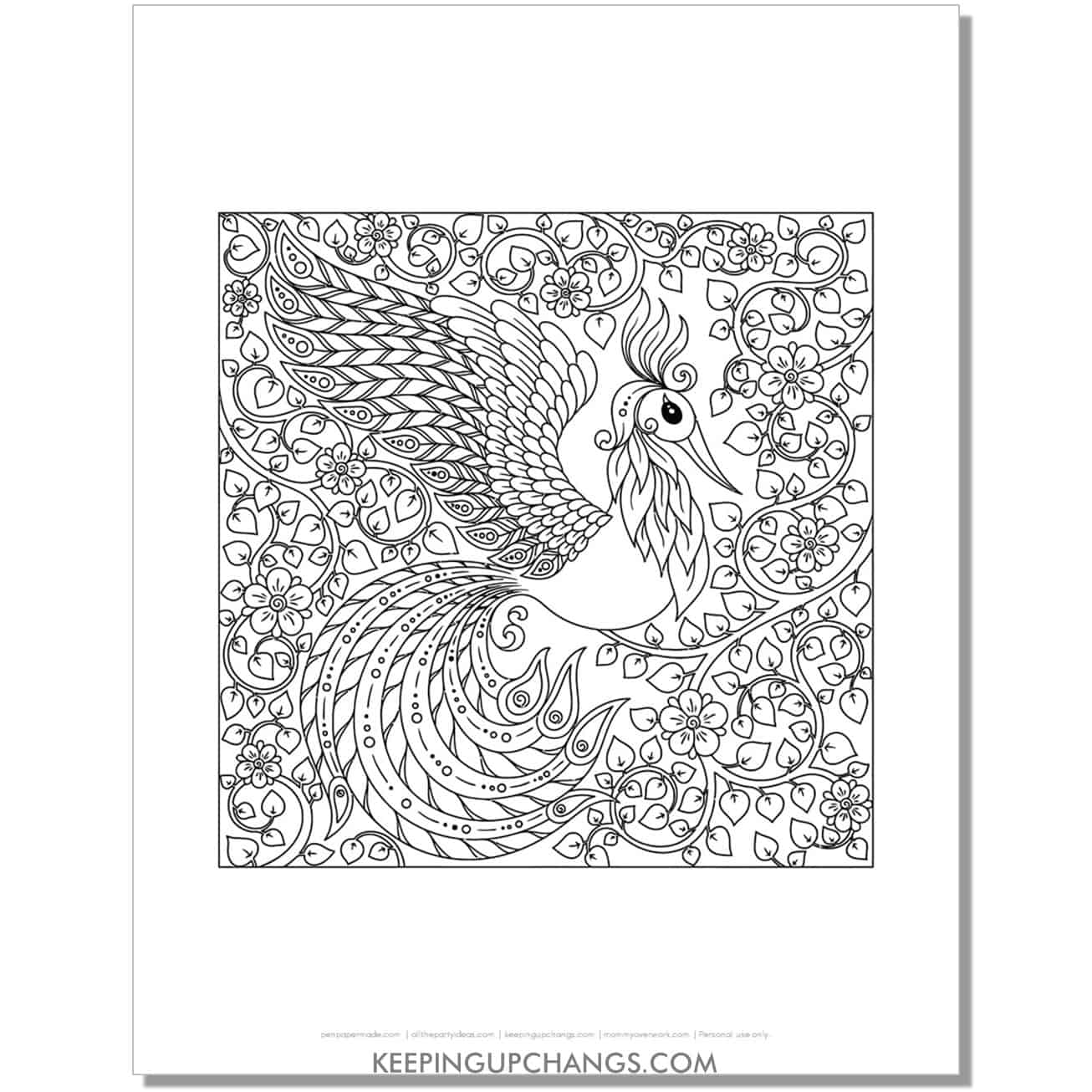 detailed flying peacock coloring page.